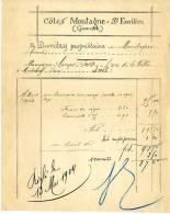ST EMILION  -  COTES MONTAGNE -  DUMERY  -  FACTURE 1903 - Agriculture