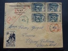 BEL AFFRANCHISSEMENT AOF OUME COTE D'IVOIRE 1946 SUR PAR AVION => FRANCE    COVER BELEGE