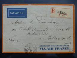 AFFRANCHISSEMENT SUR LETTRE PAR AVION DE SEGOU SOUDAN 1935 => FRANCE   COVER BRIEFE BELEGE  SEUL AOF