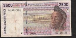 WAS SENEGAL P712Kc 2500 FRANCS 1994 FIRST DATE  VF - Sénégal