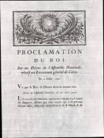 PROCLAMATION DU ROI RELATIF AU LIEUTENANT GENERAL DE CRECY DU 2/ 07 / 1790 - Decretos & Leyes