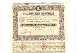 L´électrification Industrielle, Action De 250 Francs - Electricité & Gaz