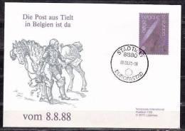 Illustrierter Umschlag Postbote, EF Europa Parabolantenne, Tielt Nach Luetjensee 8.8.88 (38454) - Belgio
