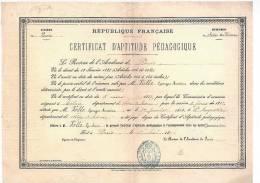 SAINT AUGUSTIN - Certificat D'Aptitude Pédagogique - 17 Mai 1887 - Diplômes & Bulletins Scolaires