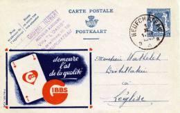 Belgien 1943? - 50C Ganzsache Auf Werbekarte Von IBBS, Stempel Neufchateau - Stamped Stationery
