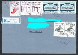 D12 Slowenien Slovenia Registered Letter Hand-stamped Postmark Stempel Eisenbahn Train Steam Locomotive Europa In Miniat - Slowenien