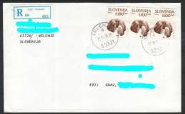 D12 Slowenien Slovenia Registered Letter Hand-stamped Postmark Stempel Food Cake - Slowenien
