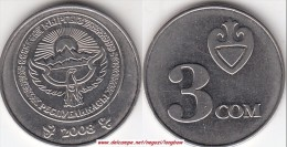 Kyrgyzistan 3 SOM 2008 Republic Standard Coinage KM#15 - Used - Kirghizistan