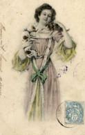 FEMMES Avec Chien Et Chat-couleur Style Vienne-dos Non Divisé, 2 Scans - Mujeres