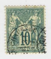 1876-78 : Groupe Allégorique Paix Et Commerce Dit Type Sage. Type I N° 65 10c. Vert - 1876-1878 Sage (Type I)