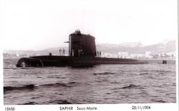 Sous-Marin SAPHIR, 1984. Sous-marin Nucléaire D´Attaque. Rade De Toulon. - Submarines
