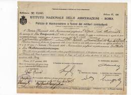 ^ POLIZZA DI ASSICURAZIONE A FAVORE DEI MILITARI COMBATTENTI 150 CAMPO 09 - Documenti Storici
