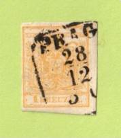 "AUT SC #1  1850 Coat Of Arms  Handmade Paper (""PRAG / 12-28""), CV $115.00 - Used Stamps"