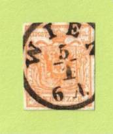 "AUT SC #1b 1850 Coat Of Arms, W/SON (""WIEN / 1-5 / 6A.""), Bold Strike, CV $150.00 - 1850-1918 Empire"