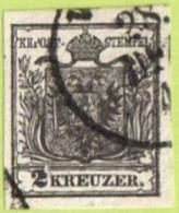 "AUT SC #2  1850 Coat Of Arms W/v Small ""spot"" In B Margin, CV $82.50 - 1850-1918 Empire"