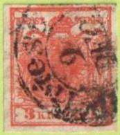 """AUT SC #3a  1850 Coat Of Arms, Ribbed Paper, W/3mm Tear @ LR (""""Triest / 9 DEC""""), CV $160.00 - 1850-1918 Empire"""