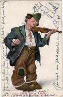 Leise Flehen Meine Lieder, 1914, Homme Avec Violon - Humour