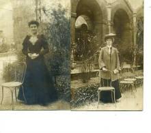CARTE PHOTO LOT DE 2 CARTES  2 FEMMES DANS LEUR JARDIN ED GUILLEMINOT - Women