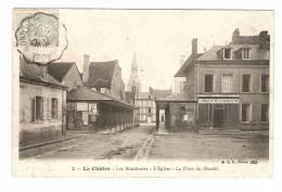 CPA  + Marcophilie : 36 - Indre : La Chatre : Les Boucheries - Eglise - Place Marché : Tampon Convoyeur - La Chatre