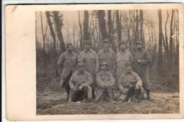 Carte Photo  Militaires Du 317ème Militaires Du Canton De La Charte Sur Le Loir  2 Pliures Abimée Coin H G - Guerre 1914-18