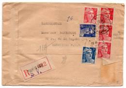 Gandon : Affranchissement Composé à 35f Sur Lettre Recommandée De 1948 Dont Variété 6f Avec Mèches Croisées - Postmark Collection (Covers)