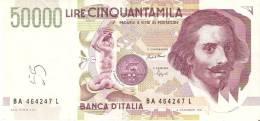 BILLETE DE ITALIA DE 50000 LIRAS DEL AÑO 1992 DE LORENZO BERNINI (BANKNOTE) - 50000 Liras