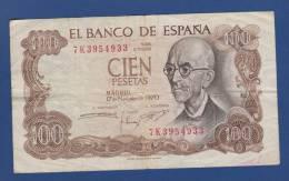 Spain / Espana - 100 Pesetas (M. De Falla) - Madrid 17 Noviembre 1970 - [ 3] 1936-1975 : Regime Di Franco