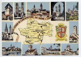 SAONE ET LOIRE-1978--carte Géographique-Chagny,Chalon,St Gengoux,Macon,Chapaize,Semur,Sennecy,Autun,Paray,Cluny...blason - Other Municipalities