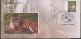 SAVE TIGER, Tiger Footprint, Achanakmar Tiger Reserve , Wild Animal, Cat Of Prey  Pictorial Postmark India - Big Cats (cats Of Prey)