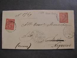 """ITALIA Regno-1866- """"T 15 Cifra Torino"""" C. 2 BUSSOLENGO>NEGARINE (descrizione) - 1861-78 Victor Emmanuel II"""