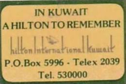KUWAIT HILTON INTERNATIONAL HOTEL VINTAGE LUGGAGE LABEL - Hotel Labels
