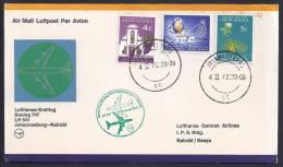 FIRST FLIGHT - Lufthansa LH 541 Johannesburg-Nairobi - 04 Feb1972 - FDC