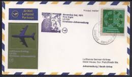 FIRST FLIGHT - Lufthansa LH 552 Kinshasa-Johannesburg - 03 Nov1971 - FDC