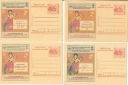 11 Different  Language  (4 Scan) Postcard, English, Hindi, Etc., Meghdoot ISI Helmet  Motorbike Road Accident Safety - Motorbikes