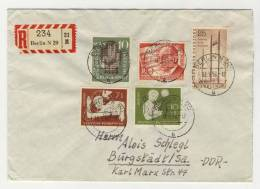 BRD Michel No. 232 - 233 , 239 + Berlin No. 157 gestempelt used auf Brief