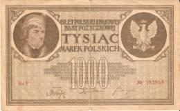 BILLETE DE POLONIA DE 1000 MAREK DEL AÑO 1919 (BANK NOTE) RARE - Polonia