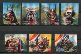 BHUTAN  Set Of 7 3D Stamps Masks Popular Costumes Mint  (A026) - Bhutan