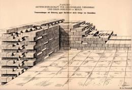 """Original Patentschrift - """" Panzer """" AG Für Geldschrank - Tresor Bau In Berlin , 1900 , Tresorraum  , Sparkasse , Safe !! - Architektur"""