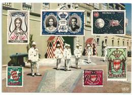 Monaco, Le Palais Du Prince Et La Relève De La Garde Avec Timbres De La Principauté - Palazzo Dei Principi