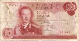 BILLETE DE LUXEMBURGO DE 100 FRANCS DEL  AÑO 1970 SERIE C (BANKNOTE) - Luxemburgo