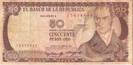 BILLETE DE COLOMBIA DE 50 PESOS DE ORO DEL AÑO 1985  (BANK NOTE) - Colombia