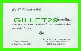FAIRE-PARTS - CLINIQUE LAFAYETTE - MARCEL SABATIER & DENISE BONNAT ANNONCE NAISSANCE DE GIL  EN 1963 - - Naissance & Baptême