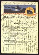 """CARTOLINA       MOTORSCHIFF """" MONTE SARMIENTO """"       MENÜ    -     HAMBURG - SUD    KAPITÄN C.  LUBBE  1935 - Chiatte, Barconi"""