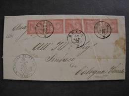 """ITALIA Regno-1866-""""T 15 Torino"""" C. 2 ZEVIO>COLOGNA VENETA (descrizione) - 1861-78 Victor Emmanuel II"""