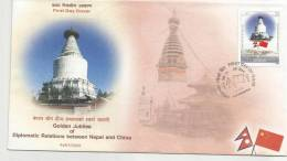2005 DIPLOMATIC RELATION BETWEEN NEPAL AND CHINA FLAG WHITE PAGODA FDC WITH LEAFLET. - Other