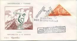 SAN MARINO - FDC  CAPITOLIUM 1959 - UNIVERSIADI DI TORINO - SPORT - FDC