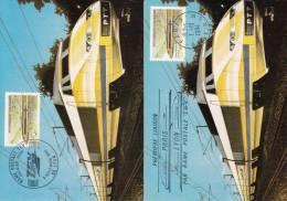 LOT DE 2 CARTES 1er JOUR DE 1984 SUR LE TGV POSTALE LIAISON PARIS LYON - 1980-1989