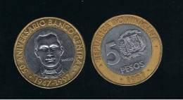 DOMINICANA  - 5 Pesos 1997  KM88 - BIMETAL - Dominicaine