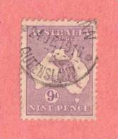 """AUS SC #41  1915 Kangaroo And Map  (""""QUEENSLAND / 24 JE 1916"""") CV $ - Used Stamps"""