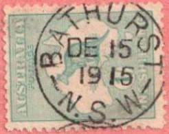 "AUS SC #42  1915 Kangaroo And Map  W/lt. Toning  W/SON (""BATHURST N.S.W / DE 15 1915""), CV $35.00 - Used Stamps"